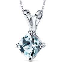 14 kt White Gold Cushion Cut 0.75 ct Aquamarine Pendant P9136