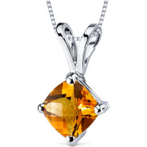 14 kt White Gold Cushion Cut 1.00 ct Citrine Pendant P9140