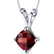 14 kt White Gold Cushion Cut 1.00 ct Garnet Pendant P9142
