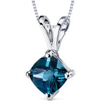 14 kt White Gold Cushion Cut 1.00 ct London Blue Topaz Pendant P9150
