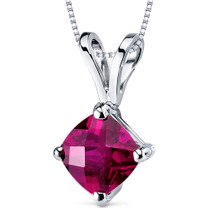 14 kt White Gold Cushion Cut 1.00 ct Ruby Pendant P9152