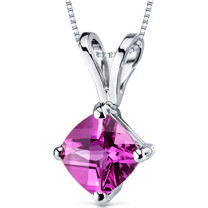 14 kt White Gold Cushion Cut 1.00 ct Pink Sapphire Pendant P9156