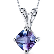 14 kt White Gold Cushion Cut 1.00 ct Alexandrite Pendant P9158