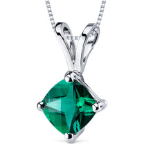 14 kt White Gold Cushion Cut 0.75 ct Emerald Pendant P9160