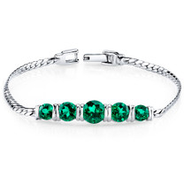 3.50 ct Round Cut Emerald Bracelet in Sterling Silver SB4290