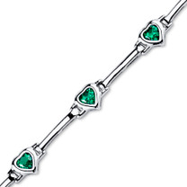Heart Shape Emerald Bracelet in Sterling Silver SB4306