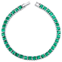 13.00 ct Princess Cut Emerald Bracelet in Sterling Silver SB4310