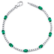 Oval Shape Emerald & CZ  Bracelet in Sterling Silver SB4318