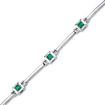 Princess Cut Emerald Bracelet in Sterling Silver SB4320