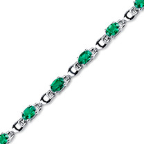 5.50 ct Oval Shape Emerald Bracelet in Sterling Silver SB4322