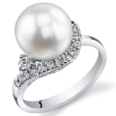 Pearl and Cubic Zirconia Sterling Silver Ring Sizes 5 to 9 SR10954