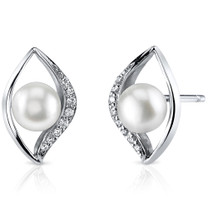 6.5mm Freshwater White Pearl Earrings in Sterling Silver SE8322