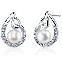 6.5mm Freshwater White Pearl Earrings in Sterling Silver SE8336