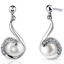 7.5mm Freshwater White Pearl Earrings in Sterling Silver SE8348