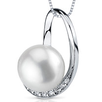 9.5mm Freshwater White Pearl Pendant in Sterling Silver SP10886