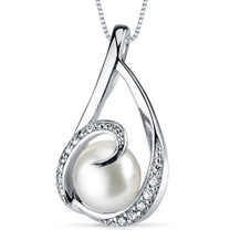8.0mm Freshwater White Pearl Pendant in Sterling Silver SP10906