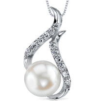 9.5mm Freshwater White Pearl Pendant in Sterling Silver SP10910