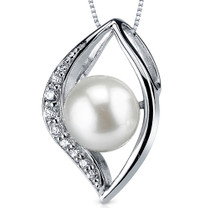 8.5mm Freshwater White Pearl Pendant in Sterling Silver SP10930