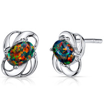 Black Opal Earrings Sterling Silver Oval Shape 1.50 Cts SE8362