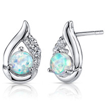 Opal Earrings Sterling Silver Round Cabochon 1.00 Cts SE8368