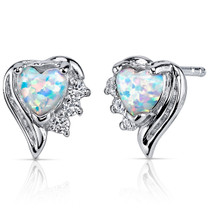 Opal Earrings Sterling Silver Heart Shape 1.00 Cts SE8372