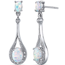 Opal Earrings Sterling Silver Oval Shape 3.50 Cts SE8378