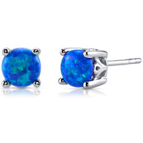 Blue-Green Opal Stud Earrings Sterling Silver Round 1.50 Cts SE8386
