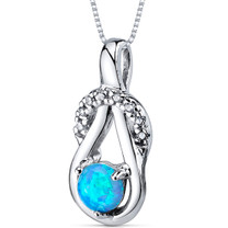 Blue Opal Pendant Necklace Sterling Silver Round 0.50 Cts SP10944