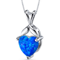 Blue-Green Opal Pendant Necklace Sterling Silver Heart 2.5 Cts SP10948