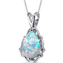 Opal Pendant Necklace Sterling Silver Pear Shape 1.50 Cts SP10950