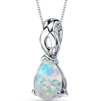 Opal Pendant Necklace Sterling Silver Pear Cabochon 1.75 Cts SP10952