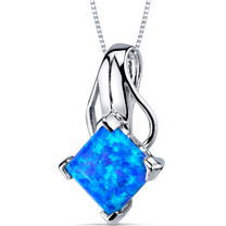 Blue-Green Opal Necklace Sterling Silver Princess Cut 2.00 Cts SP10958
