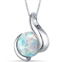 Opal Pendant Necklace Sterling Silver Round Cabochon 1.75 Cts SP10966