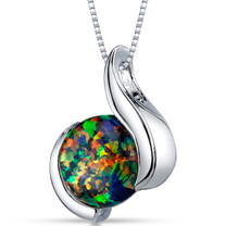 Black Opal Pendant Necklace Sterling Silver Round 1.75 Cts SP10968