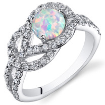 Opal Ring Sterling Silver with CZ Accent 0.75 Cts Sizes 5 to 9 SR11136