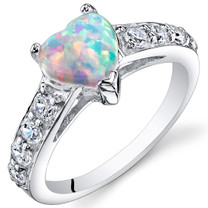 Opal Ring Sterling Silver Heart Shape 1.00 Cts Sizes 5 to 9 SR11162