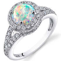 Opal Halo Ring Sterling Silver 1.25 Cts Sizes 5 to 9 SR11168
