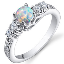 Opal Ring Sterling Silver Round Cabochon 0.50 Cts Sizes 5 to 9 SR11170