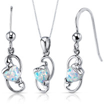 Opal Pendant Earrings Necklace Sterling Silver Heart Shape SS3936
