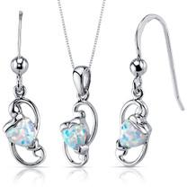 Opal Pendant Earrings Necklace Sterling Silver Heart Shape SS3936