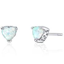 Sterling Silver 1.50 Carats Heart Shape Opal Stud Earrings SE8356