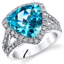 5.00 Cts Swiss Blue Topaz Sterling Silver Ring Sizes 5 to 9 SR11044