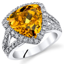 6.00 Cts Yellow Cubic Zirconia Sterling Silver Ring SR11054