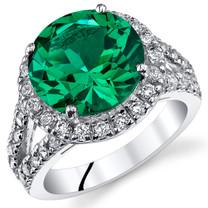 6.00 Cts Emerald Sterling Silver Ring Sizes 5 to 9 SR11056