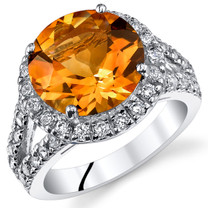 4.25 Cts Citrine Sterling Silver Ring Sizes 5 to 9 SR11064