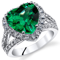 6.00 Cts Emerald Sterling Silver Ring Sizes 5 to 9 SR11070