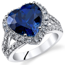 6.50 Cts Blue Sapphire Sterling Silver Ring Sizes 5 to 9 SR11072