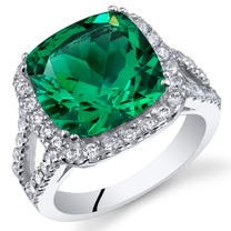 6.50 Cts Emerald Sterling Silver Ring Sizes 5 to 9 SR11084