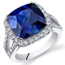 7.75 Cts Blue Sapphire Sterling Silver Ring Sizes 5 to 9 SR11086