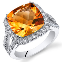 4.75 Cts Citrine Sterling Silver Ring Sizes 5 to 9 SR11092